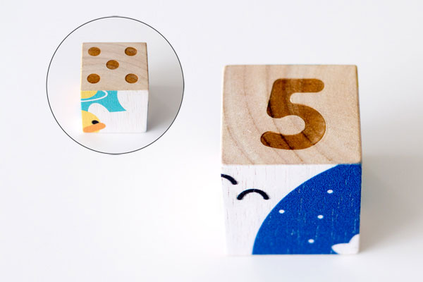 ブロックの点字と数字