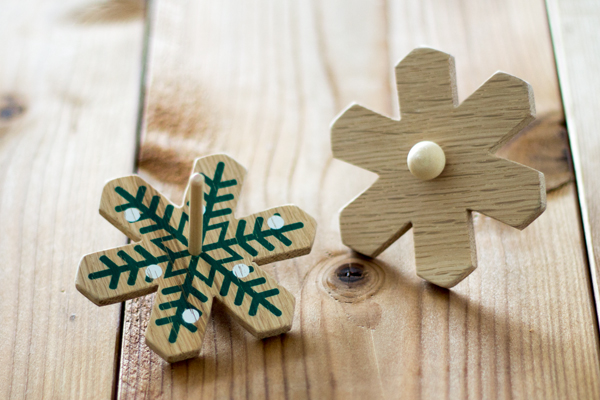 木製コマ クリスマス ホワイトメイン拡大